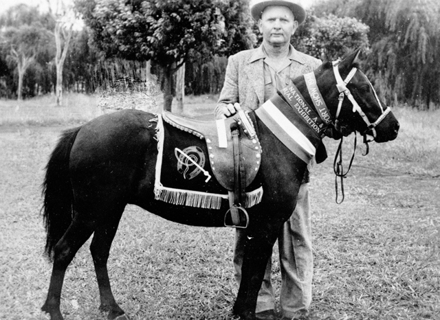 "Photo: Animals 2 Tom Dennis with Topsy the talking pony, circa 1940s [picture] / Photographer unknown. Asset name LS-LSP-CD819-IMG0005 ""She has appeared on screen, was heard on radio and shown in Melbourne Town Hall, and St. Kilda Palais, Melbourne. Topsy can play cards, add and subtract numbers given by the audience, also tell colours and coins, and her big act is Topsy the Magician.""--Inscription on reverse of original photograph. Topsy was a feature at the Surfers Paradise Zoo."""