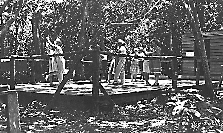 "Entertainment 9 Dancers at Rose's ""Roof Garden"" on top of the headland at Burleigh Heads, Queensland, circa 1930 [picture] / Photographer unknown. Asset name LS-LSP-CD082-IMG0050"