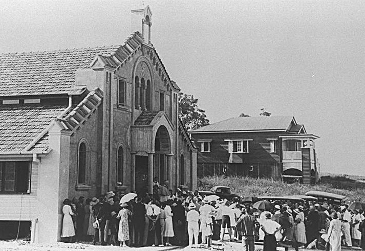 Photo: Structures 2 Opening of the Infant Saviour Church, Burleigh Heads, Queensland, late 1933 or early 1934. [picture] / Photographer unknown. Asset name LS-LSP-CD104-IMG0026