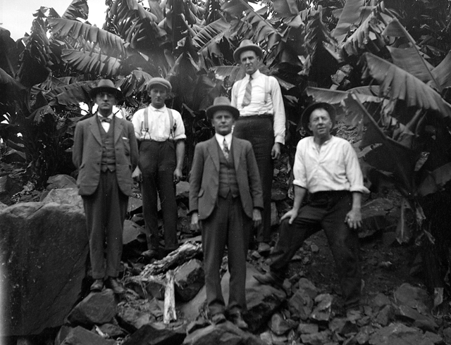 Photo: Work 8 Agronomists inspecting a banana plantation in the Gold Coast Hinterland, circa 1930s [picture] / George Jackman, photographer. Asset name LS-LSP-CD360-IMG0005