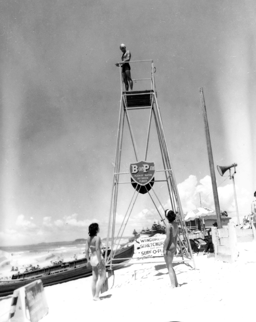 Photo: Beach 13 Lifeguard tower on the beach at Surfers Paradise, Queensland, circa 1960 [picture] / Alexander McRobbie, photographer. Asset name LS-LSP-CD906-IMG0011