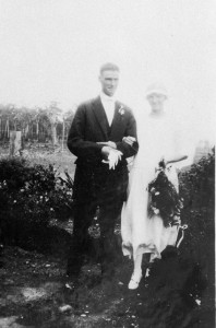 Photo: Events 6 Wedding portrait of unidentified couple at their Mudgeeraba bush wedding, Queensland, 1924 [picture] / Photographer unknown. Asset name LS-LSP-CD136-IMG0015