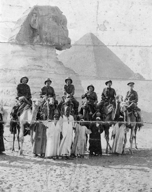 Photo: Events 7 Richard Holden with colleagues on camels in Egypt during World War One, circa 1916 [picture] / Photographer unknown. Asset name LS-LSP-CD140-IMG0003 World War 1