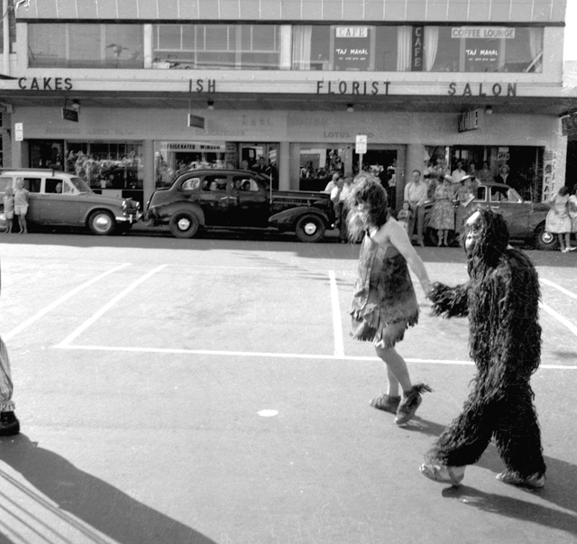 Photo: Action 9 Costumed residents in the Spring Festival Parade, Nerang Street, Southport, Queensland, 1962 [picture] / Bob Avery, photographer. Asset name LS-LSP-CD579-IMG0005