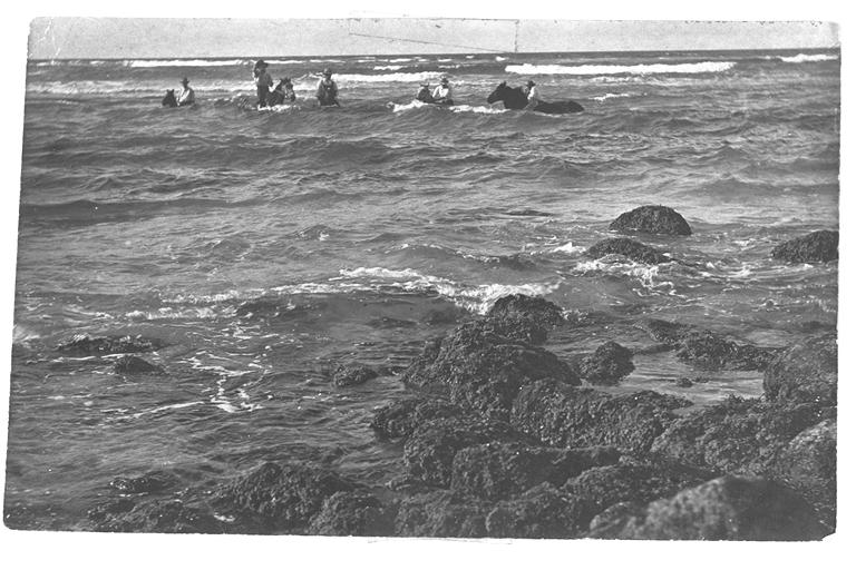Photo: Action 5 Riding horses in the surf at Burleigh beach, Queensland, circa 1910 [picture] / Photographer unknown. Asset name LS-LSP-CD058-IMG0002
