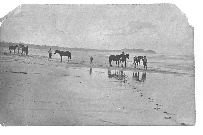 Photo: Action 6 Giving the horses a run along the beach at Burleigh, Queensland, circa 1910 [picture] / Photographer unknown. Asset name LS-LSP-CD058-IMG0019